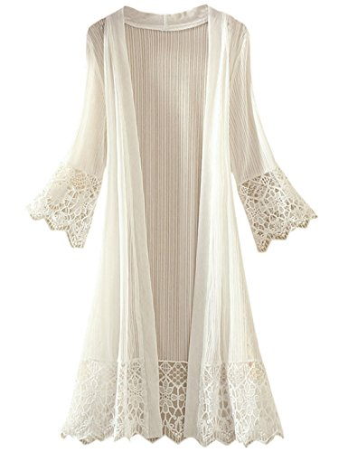 Tanming Flare Sleeves Open Front Lace Splicing Long Kimono Cardigan Cover UPS (Large, White) Lace Kimono
