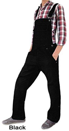 Männer Frauen Unisex Denim Onesie Latzhose All in One Piece-Latzhose 100% Baumwolle in verschiedenen Farben Black