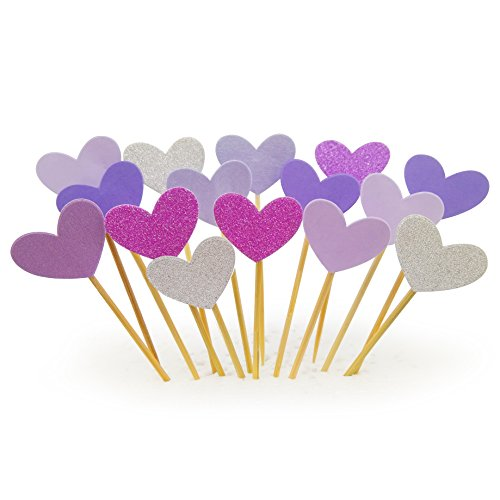 Cupcake Toppers 30Pcs Set, GUGUJI Funny Purple Heart DIY Glitter Mini Birthday Cake Snack Decorations Picks Suppliers Party Accessories for Wedding and Baby Shower