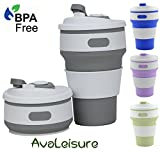 AVALEISURE Collapsible Coffee Mug – a Foldable 12oz Drinking Cup with Lid for Water, Coffee, Tea & Soft Drinks. Ideal for Camping, Travel, Picnic, Lunch, Commuters