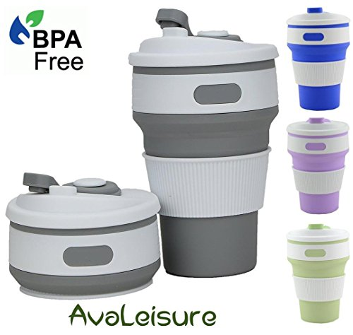 AVALEISURE COLLAPSIBLE CUP, a Reusable, 12 oz, BPA-Free Silicone Travel Mug with Leak-Proof Lid for Hot and Iced Coffee To Go, Tea, Water. Ideal for Camping, Hiking, Outdoors, Commuters (Avalon Picnic Backpack)