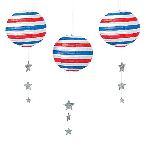 Fun Express - Stars And Stripes Paper Lanterns for Fourth of July - Party Decor - Hanging Decor - Lanterns - Fourth of July - 3 Pieces
