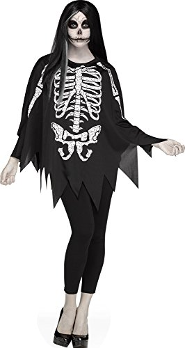 Fun World Women's Skeleton Poncho, Multi Standard ()