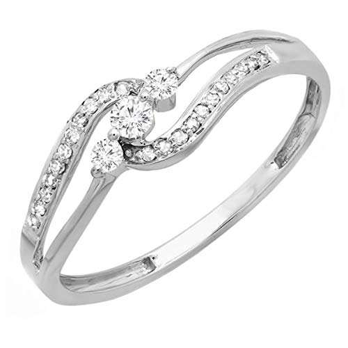 Dazzlingrock Collection 0.20 Carat (ctw) 10k Round Diamond Ladies 3 stone Engagement Bridal Promise Ring 1/5 CT, White Gold, Size 8