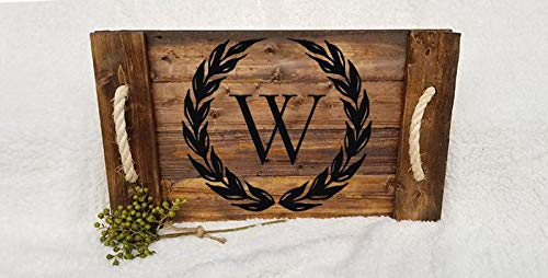 MaxwellYule Wood Serving Tray with Initial Family Monogram Stained Wood Tray Breakfast Tray (Sawtooth Monogram)