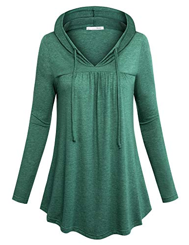 Messic Casual Tunics for Women to Wear with Leggings, Pleated Tunic Tops and Tees Swing Lightweight Business Work Shirts Long Sleeve for Autumn Wear Comfy Athleisure Pullover Sweatshirt Green M