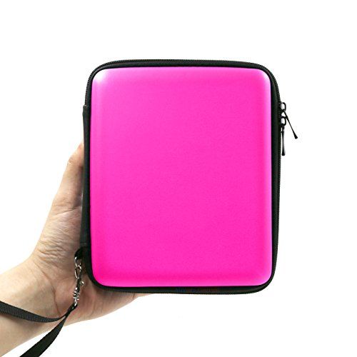 ADVcer 2DS Case, EVA Waterproof Hard Shield Protective Carrying Case with Hand Wrist Strap and Double Zipper for Nintendo 2DS (Fuchsia)