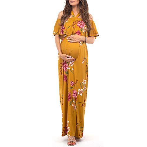 Mother Bee Maternity Open Shoulder Maternity Dress with Ruffles