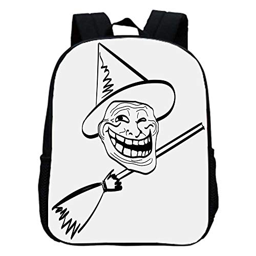 Humor Decor Fashion Kindergarten Shoulder Bag,Halloween Spirit Themed Witch Guy Meme Lol Joy Spooky Avatar Artful Image For Hiking,One_Size]()