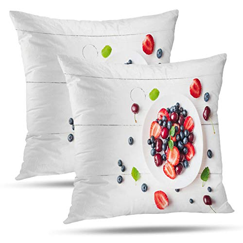 Batmerry Spring Pillows Decorative Throw Pillow Covers 18x18 Inch Set of 2, Fruit Salad with Sweet Cherry Wooden White Flat Fruit Salad Food Double Sided Square Pillow Cases Pillowcase Sofa Cushion ()