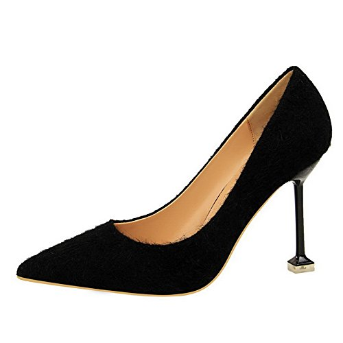 Imitated Women's Shoes Pull Black High Solid WeiPoot Suede On Pumps Toe Pointed Heels XwfqFa