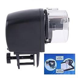 GenLed Automatic Fish Feeder, Auto Aquarium Tank Fish Timer Food Feeder LCD Feeding with battery