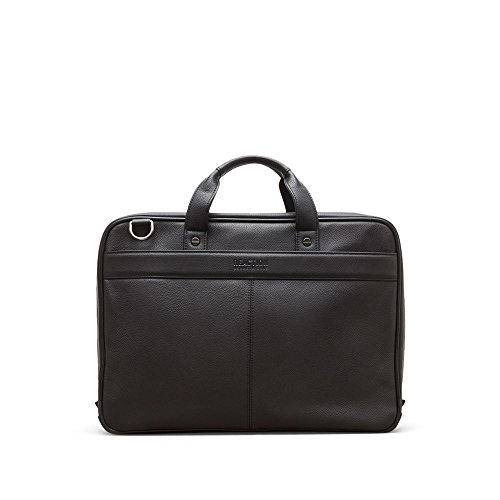 """Kenneth Cole Reaction Leather Slim Double Compartment Top Zip 15.0"""" Computer Business Case Laptop Briefcase, Black, One Size by Kenneth Cole REACTION"""