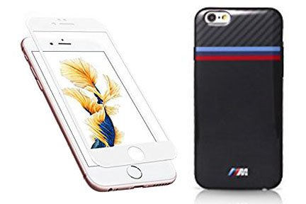 BMW TPU Case Carbon Inspiration Tricolor Stripe for iPhone 6 Plus/6S Plus - Black(with A White CERTIFIED 3D Screen Protector)