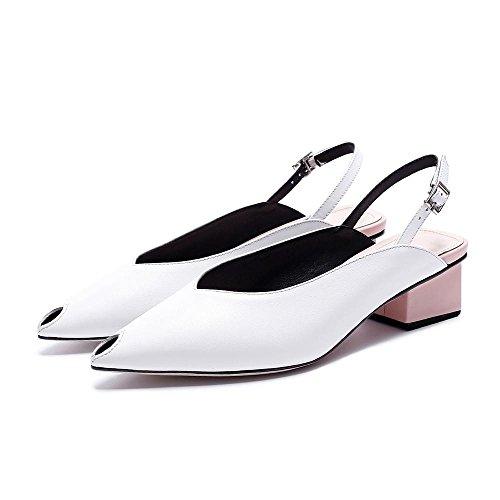 GJDE Zapatos Casuales Sandalias de Verano y Zapatillas Gruesa con Cuero White