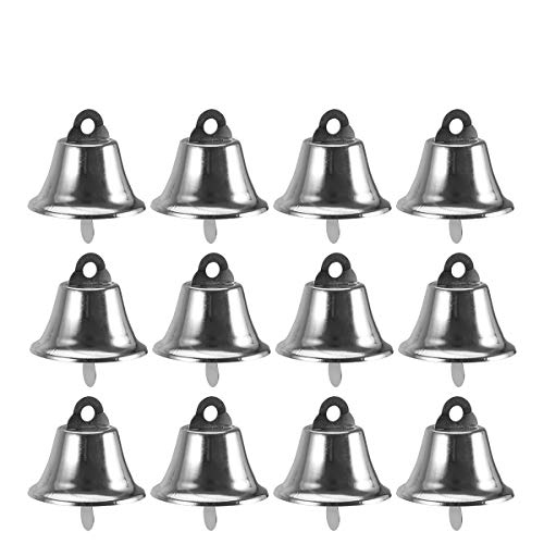 BESTOYARD Silver Bell Jingle Bells Christms Tree Ornaments Christmas Tree Hanging Decoration Pendants For Holiday Party Decor Craft Making 24pcs