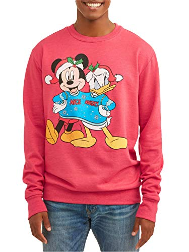 c7c922b4 Disney Men's Mickey Mouse Donald Duck Nice Naughty Holiday Christmas  Sweatshirt (Large (42/