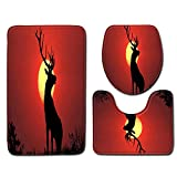 3D Elk Bathroom Rug Mats Set 3 Piece for Kids and Adults - Iuhan Clearance Bathroom Carpet Pedestal Lid Mat Toilet Cover Set - Perfect Combination of Luxury and Comfort (E)