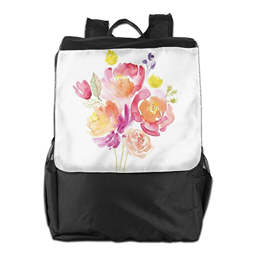 Newfood Ss Watercolor Bouquet Of Roses Romantic Artistic Corsage Design Bridal Wedding Flora Outdoor Travel Backpack Bag For Men And Women by Newfood Ss
