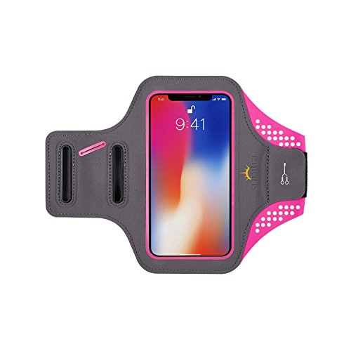 SUNITRA Water Resistant Sports Armband with Key Holder for iPhone X 8, 7 Plus, 6 Plus, 6S Plus (5.5-Inch), Galaxy S6/S5, Note 4 Bundle with Screen Protector
