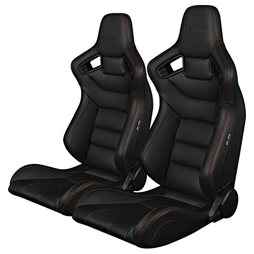 BRAUM -Blk Leather Carbon Fiber Mix Universal Racing Seats w/ Gold Stitch -Pair ()