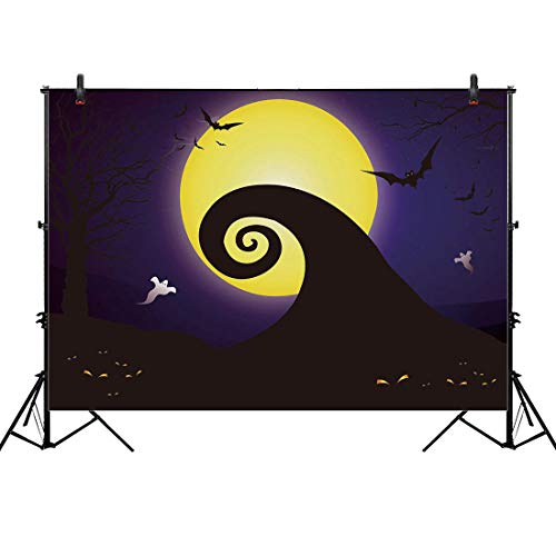 Allenjoy 7x5ft Happy Halloween Backdrop for 2018 Pumpkin Jack Theme Photo Studio Photography Pictures Background Nightmare Before Xmas Christmas Party Home Decor Outdoorsy Shoot Props Drop]()