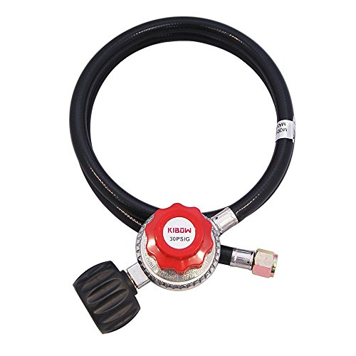 Propane Regulator Hose (KIBOW 0~30PSI High Pressure Adjustable Propane Regulator with 4FT Hose-Type 1(QCC 1) Connection-CSA Certified)
