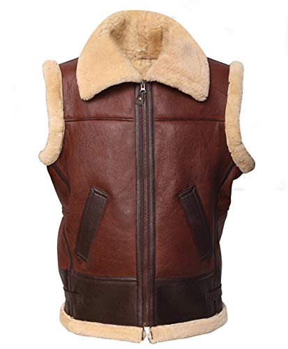 Mens Brown Shearling Vest Lambskin Jacket