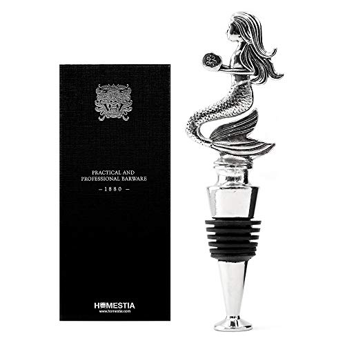 Homestia Mermaid Wine Bottle Stopper Stainless Steel Silicone Reusable Beverage Bottle Stopper ()
