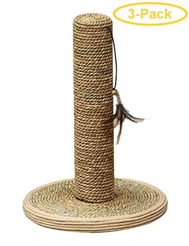 PetPals Seagrass Scrratching Post with Feather Toy 15'' Tall x 10'' Diameter - Pack of 3