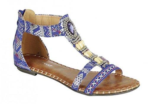 Kvinna Nytt Mode Ankelbandet Romerska Gladiatorer Thong Platta Sandaler Skor Blå