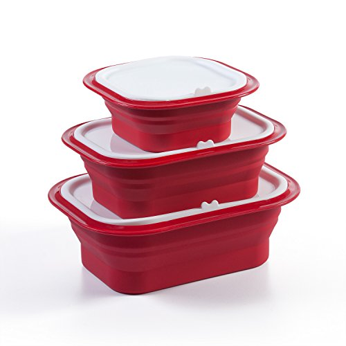 FridgeX 6 Piece Silicone Collapsible Meal Prep Containers / Food Storage Set (Firebrick Red)