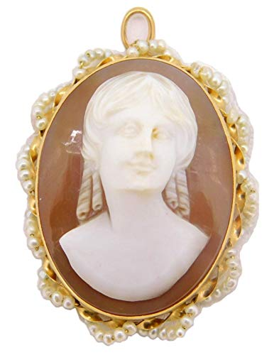 14k Gold Oval Shell Cameo Pin/Pendant with Seed Pearls (#J4018)