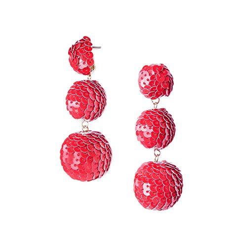 (Mermaid Triple Orb Drop Earrings - Sparkly Sequin Trio Bubble Dangles (Red))