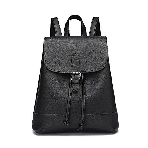 Huabor Fashion School Leather Backpack Shoulder Bag Mini Backpack for Women & Girls (Black2) by