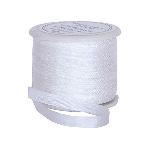 Threadart 100% Pure Silk Ribbon - 4mm White - No. 003-3 Sizes - 50 Colors