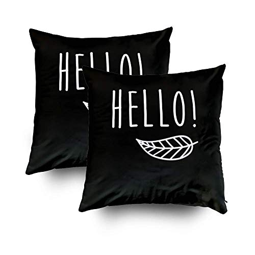 GROOTEY Decorative Cotton Square Set of 2 Pillow Case Covers with Zippered Closing for Home Sofa Decor Size 16X16Inch Costom Pillowcse Throw Cover Cushion,Halloween Hello Poster]()