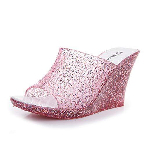 ChyJoey Women's Jelly Wedge Sandals Glitter High Heels Slip On Platform Meshy Peep Toe Slide Sandals Pink