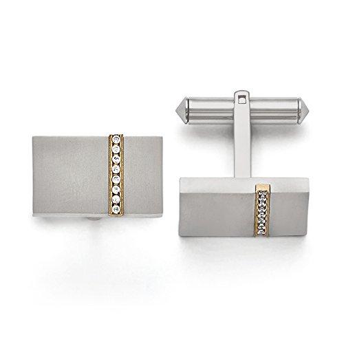 Gold Tone Titanium Plated (Men's Titanium, Gold Tone Plated and CZ Rectangular Cuff Links)