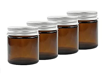 4c4f628066b1 60ml Amber Glass Jars with Aluminium EPE Lined Lids (Pack of 4). Suitable  for Aromatherapy, Creams, Gels, Serums, Wax, Ointments, First Aid etc