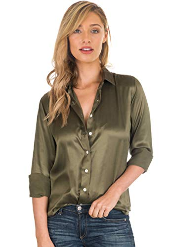 CAMIXA Women 100% Silk Blouse Long Sleeve Ladies Shirt Satin Pure Charmeuse Silk M Olive Green