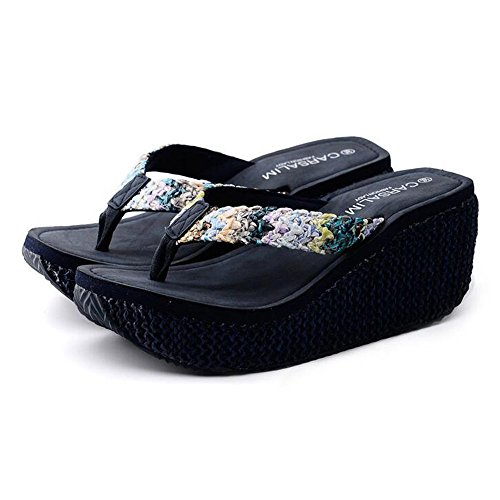 femmina LISABOBO CN36 UK4 cm scuro EU36 spesse Estate confortevole Dimensione moda blu elegante EU39 di pantofole COLORE 6 e UK6 CN39 5 antiscivolo Cool fondo pantofole spiaggia r5xrgpq