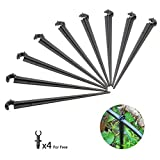 Drip Irrigation Kit Support Stakes for 1/4-Inch Tubing Hose Holder Drip Support Stakes For Vegetable Garden, Flower Beds, Herbs, Greenhouse, Pack of 50