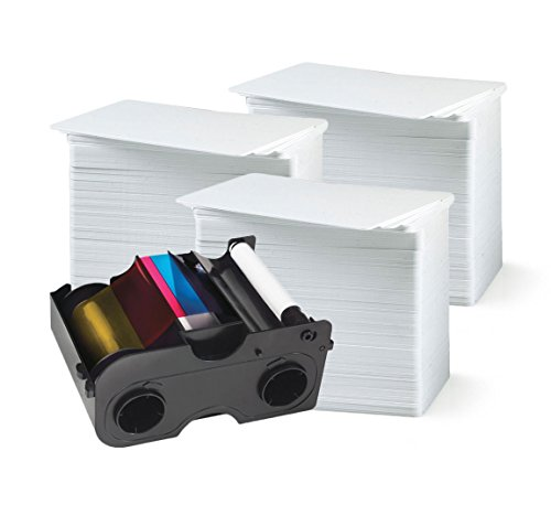 Fargo 45000 Color Ribbon - YMCKO - 250 prints with badgeDesigner Premium CR80 30 Mil Graphic Quality PVC Cards - Qty (Fargo Print Ribbon)