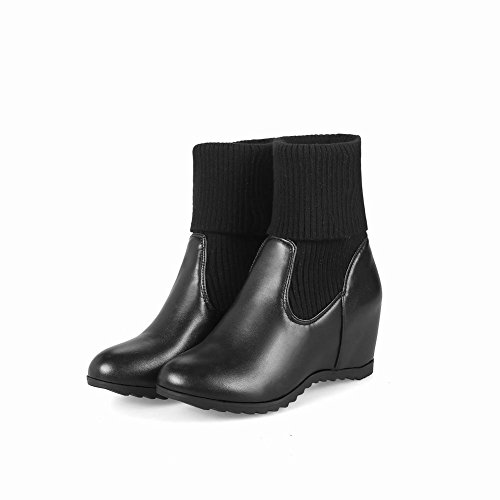 Latasa Dames Sleehakken Korte Trui Laarzen Zwart