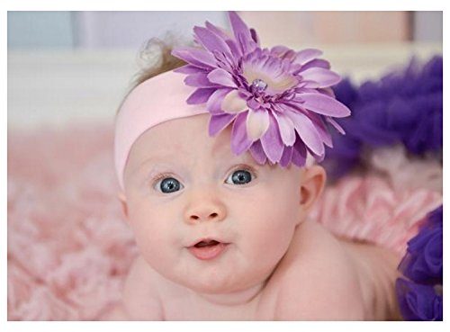 Pale Pink Soft Headband with Lavender Daisy, Size: 0-12m