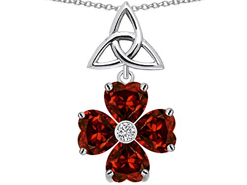 - Star K Lucky Shamrock Celtic Knot Made with Heart 6mm Simulated Garnet Pendant Necklace Sterling Silver