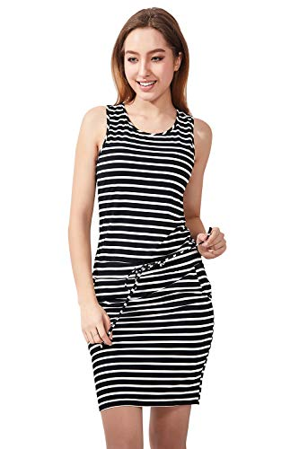 Zengjo Juniors Summer Casual Jersey Knit Fitted Striped Tank Midi Dress with Pockets (XS(US 0),Black/White)
