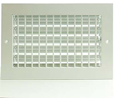 "16"" X 10"" ADJUSTABLE AIR SUPPLY DIFFUSER - HVAC Vent Duct Cover Sidewall or Cieling - Grille Register - High Airflow - White"