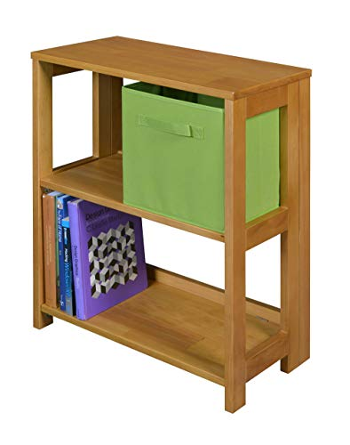 Home Office Desk High Side Folding Bookcase, Sturdy and Durable Wood Construction, Two Ample Sized Shelves and Top, Long Lasting Solid Materials, Open Storage and Adjustable Shelves, Medium Oak